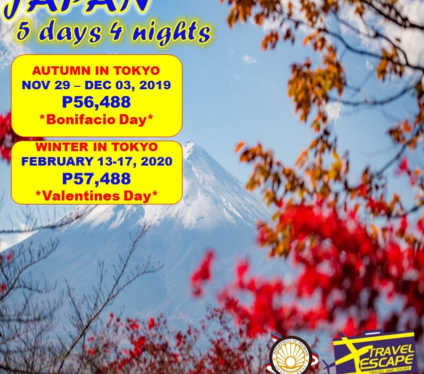 5 DAYS 4 NIGHTS PACKAGE JAPAN 2019 to 2020