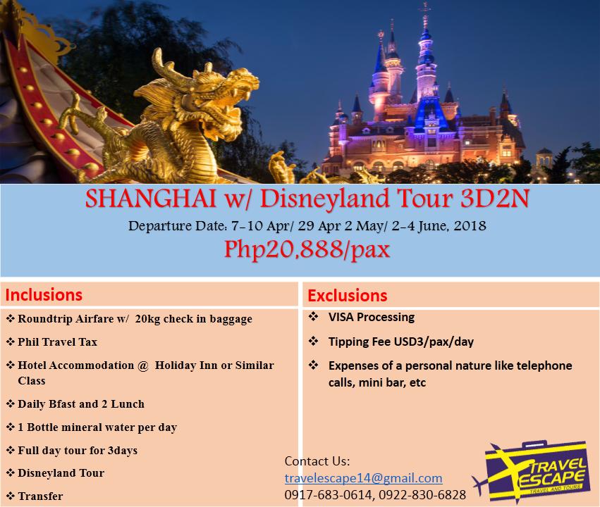 Shanghai Disneyland Tour Package Philippines